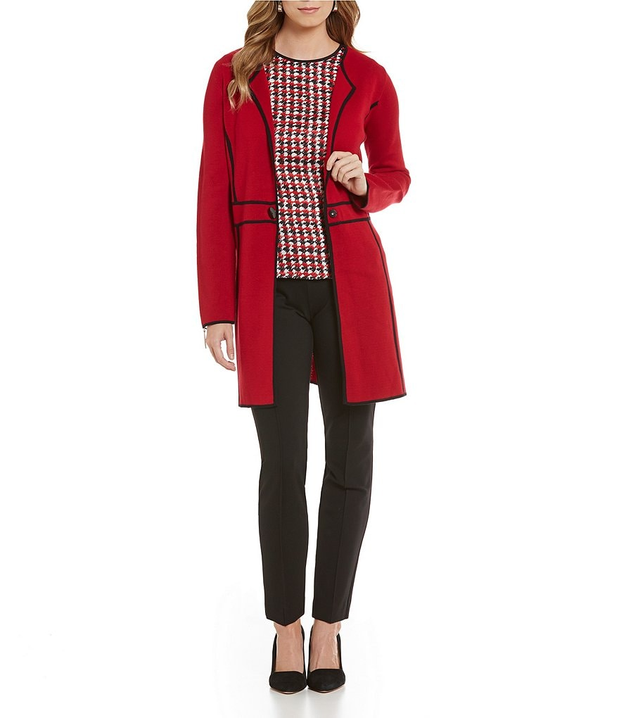 Kasper Long-Sleeve Duster Knit Jacket & Solid Ponte Pant