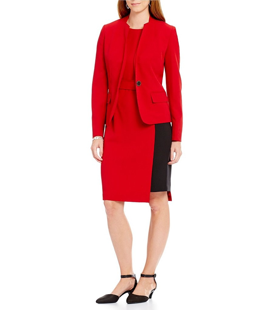 Kasper Stretch Crepe One-Button Jacket & Stretch Crepe Colorblock Tie-Waist Dress