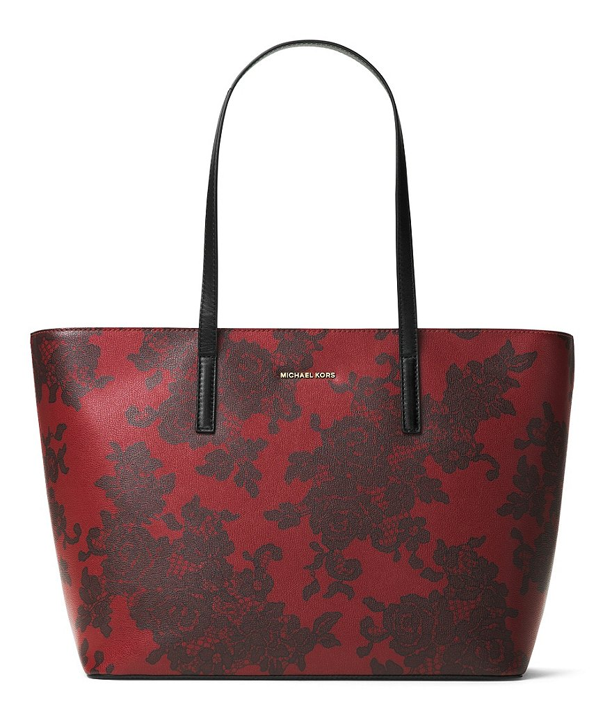 MICHAEL Michael Kors Emery Floral Lace-Print Large Top-Zip Tote