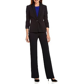 Kasper Petite One-Button Crepe Jacket & Classic-Fit Straight Leg Crepe Pants