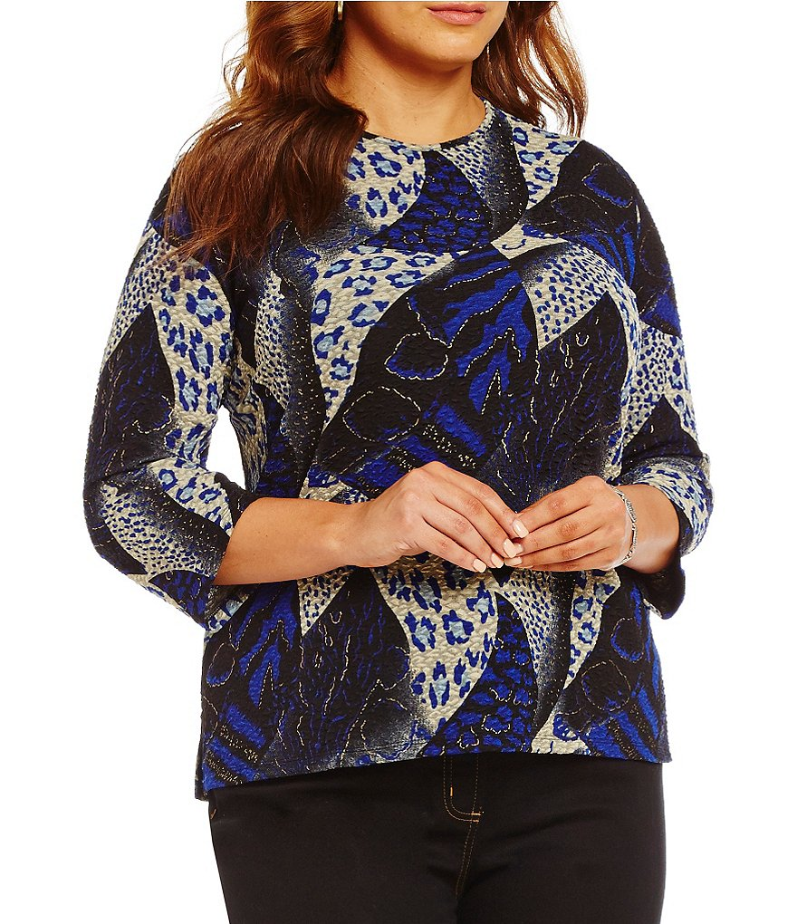 Allison Daley Plus Crew Neck 3/4 Sleeve Printed Top