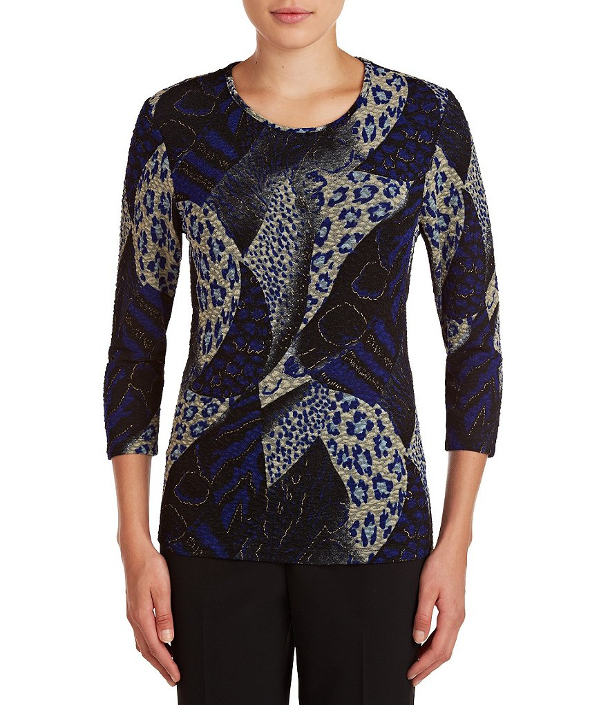 Allison Daley Crew Neck 3/4 Sleeve Printed Top