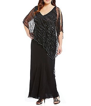 Jkara Plus V-Neck Beaded Capelet Gown