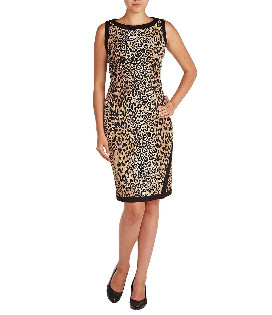Allison Daley Sleeveless Faux-Wrap Printed Dress