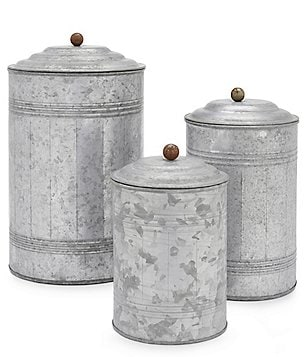 Park Hill Tall Galvanized Canisters, Set of 3