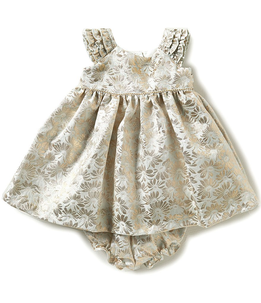 Laura Ashley London Baby Girls Newborn-24 Months Metallic Floral Flutter-Sleeve Dress