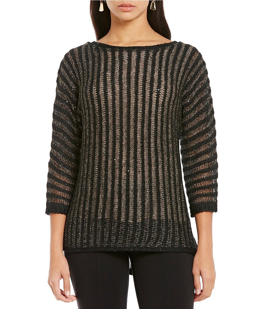 Gibson & Latimer Sequin Stripe 3/4 Sleeve Sweater