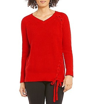 Gibson & Latimer V-Neck Braided Side Lace-Up Solid Sweater