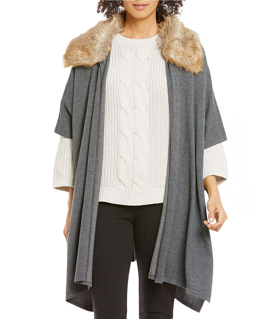 Gibson & Latimer Detachable Faux-Fur Collar Oversized Sweater Cardigan