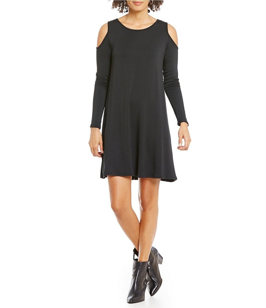 Gibson & Latimer Fleeced Cold-Shoulder Trapeze Dress