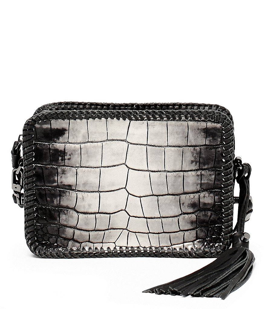 Botkier Quincy Crocodile-Embossed Braided Mini Cross-Body Bag