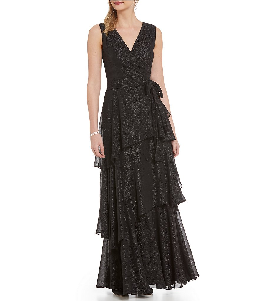 Tahari ASL V-Neck Faux-Wrap Tiered Ruffle Gown
