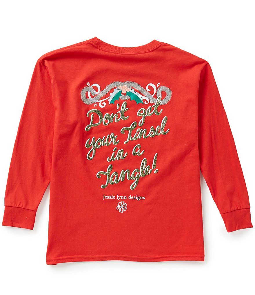 Itsa Girl Thing Big Girls 7-16 Christmas Tinsel Tangle Long-Sleeve Graphic Tee