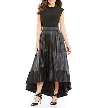 J.R. Nites Cap-Sleeve Beaded Roll-Neck Top & Hi-Low Satin Skirt