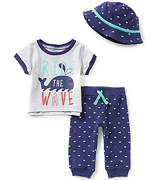 Baby Starters Baby Boys 3-12 Months Short-Sleeve Tee, Whale-Printed Pants, and Hat Set
