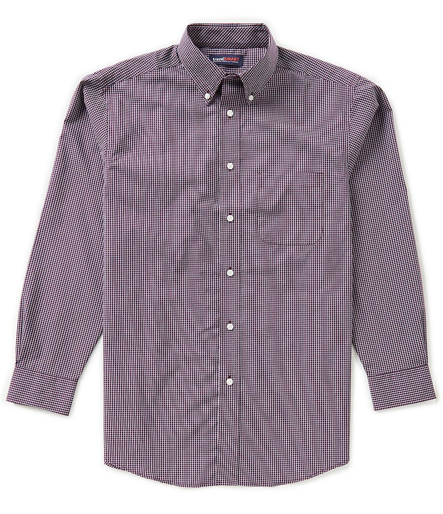 Roundtree & Yorke TravelSmart Big & Tall Long-Sleeve Mini Check Sportshirt