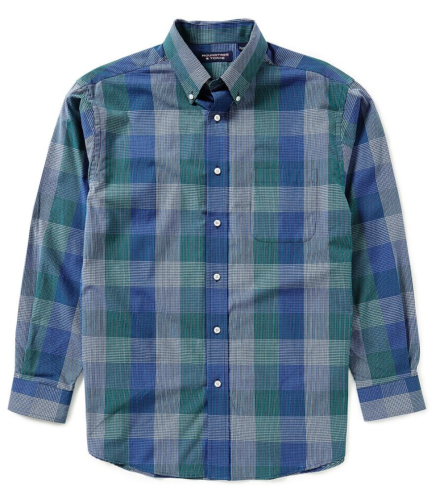 Roundtree & Yorke Big & Tall Long-Sleeve Large Plaid Sportshirt