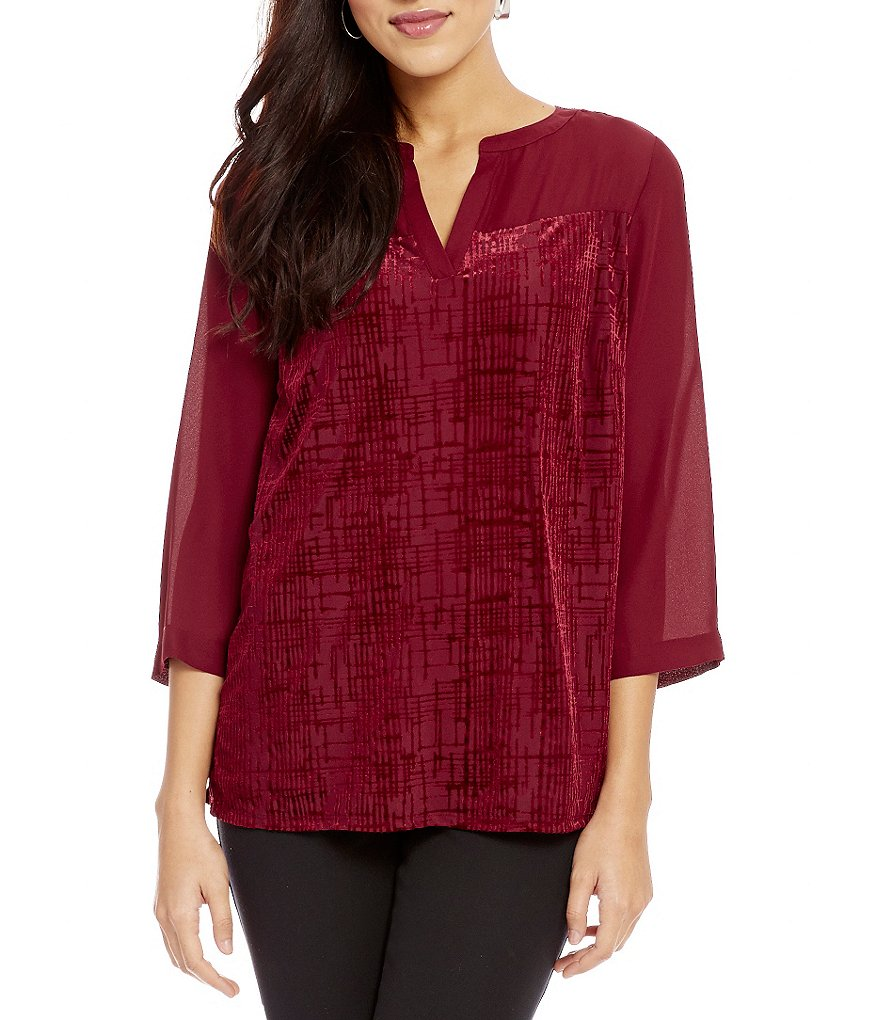 Investments Petites 3/4 Sleeve Burnout Front Blouse