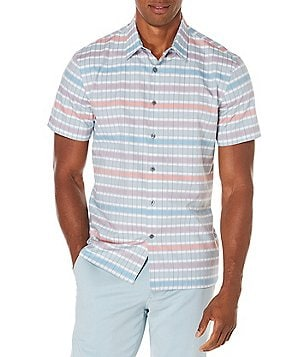 Perry Ellis Skyscrape Short-Sleeve Woven Jacquard Shirt