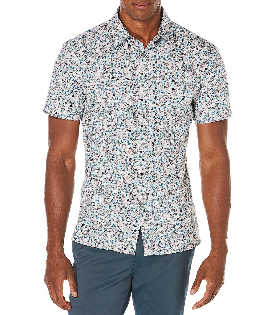 Perry Ellis Painted Floral Short-Sleeve Woven Shirt