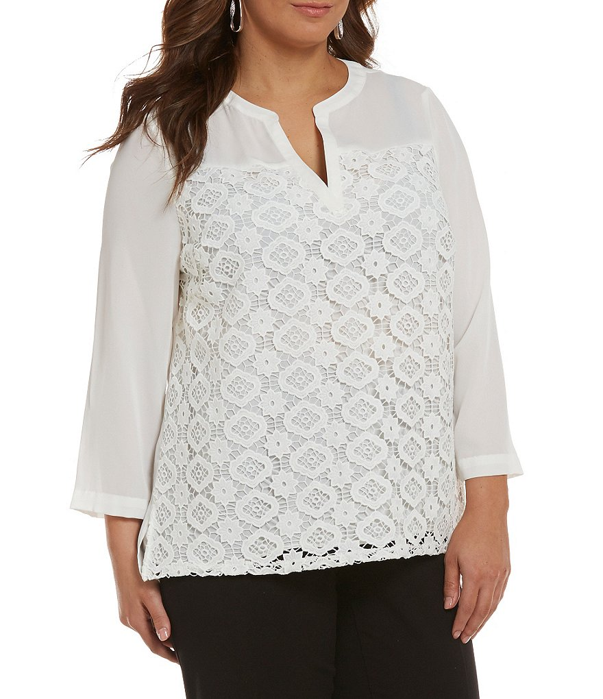 Investments Plus 3/4 Sleeve Lace Front Blouse