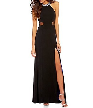 Sequin Hearts Beaded Mock Neck Illusion Detail Long Dress