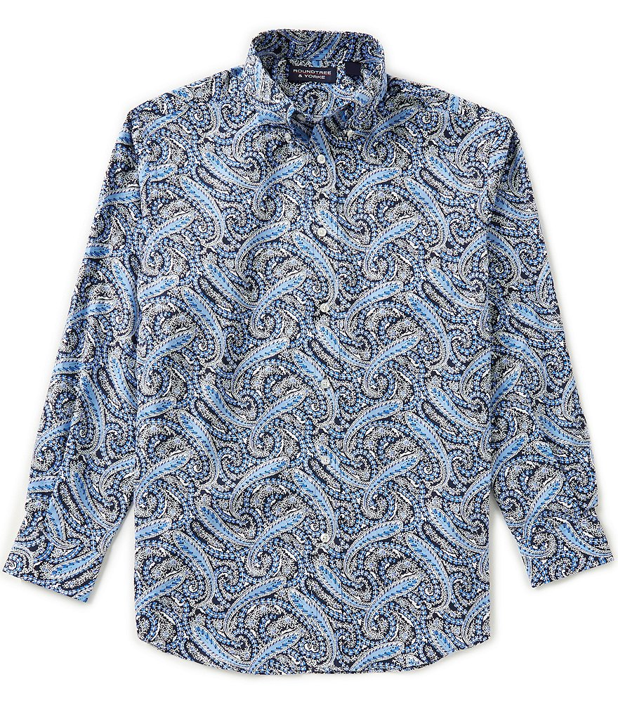 Roundtree & Yorke Big & Tall Long-Sleeve Large Paisley Sportshirt