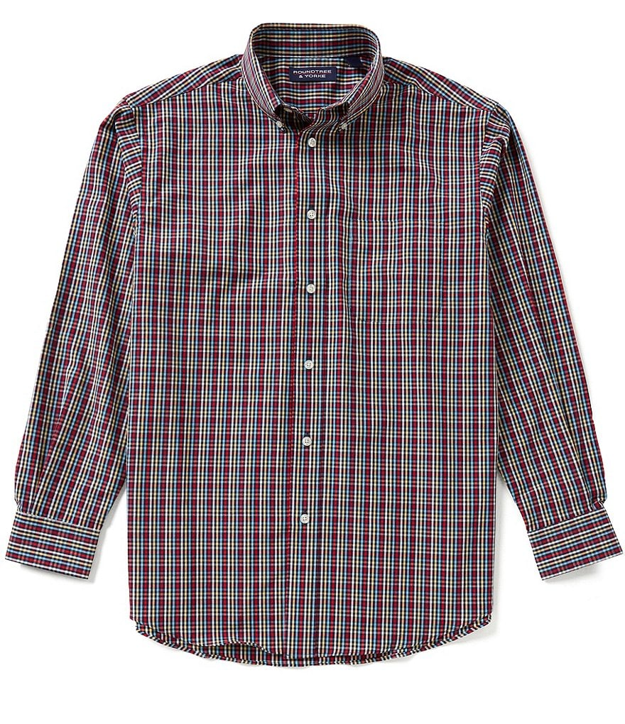 Roundtree & Yorke Big & Tall Long-Sleeve Multi-Check Sportshirt