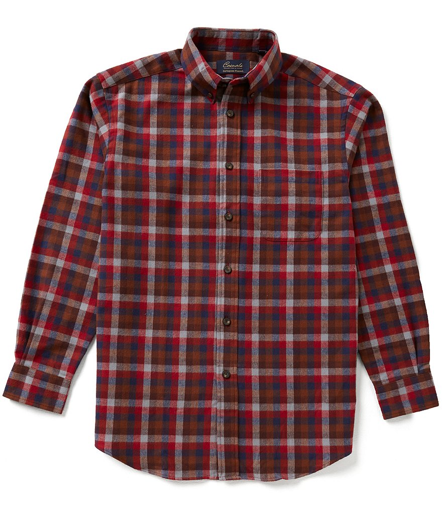 Roundtree & Yorke Big & Tall Casuals Long-Sleeve Flannel Multi Windowpane Sportshirt