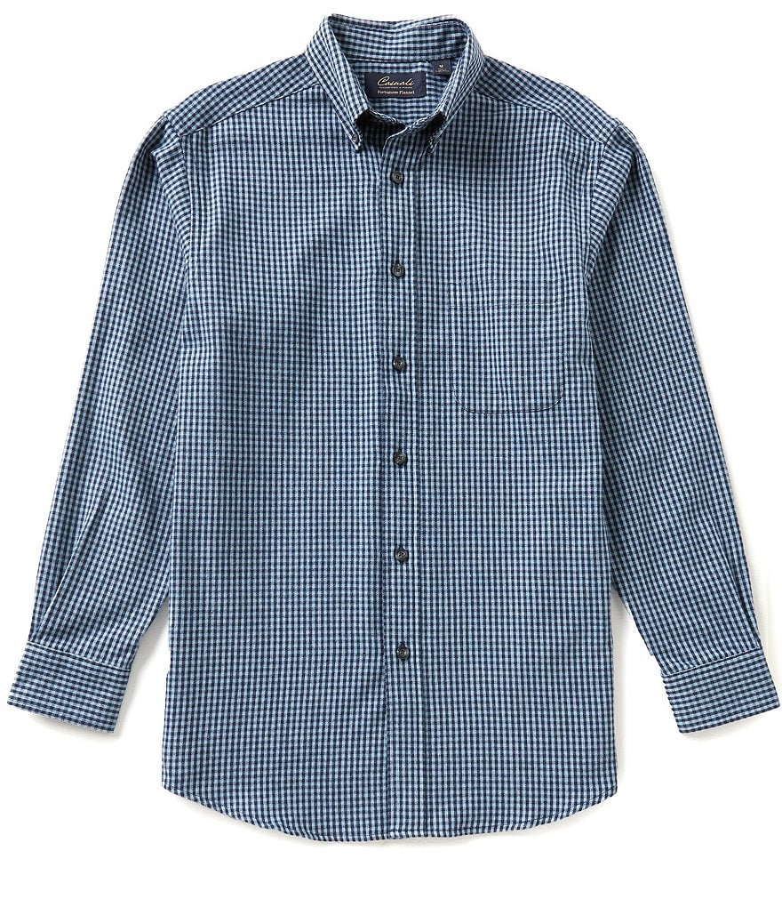 Roundtree & Yorke Casuals Big & Tall Long-Sleeve Flannel Gingham Sportshirt
