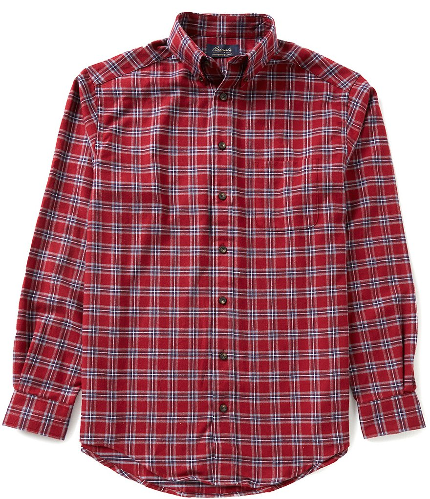 Roundtree & Yorke Casuals Big & Tall Long-Sleeve Flannel Windowpane Sportshirt