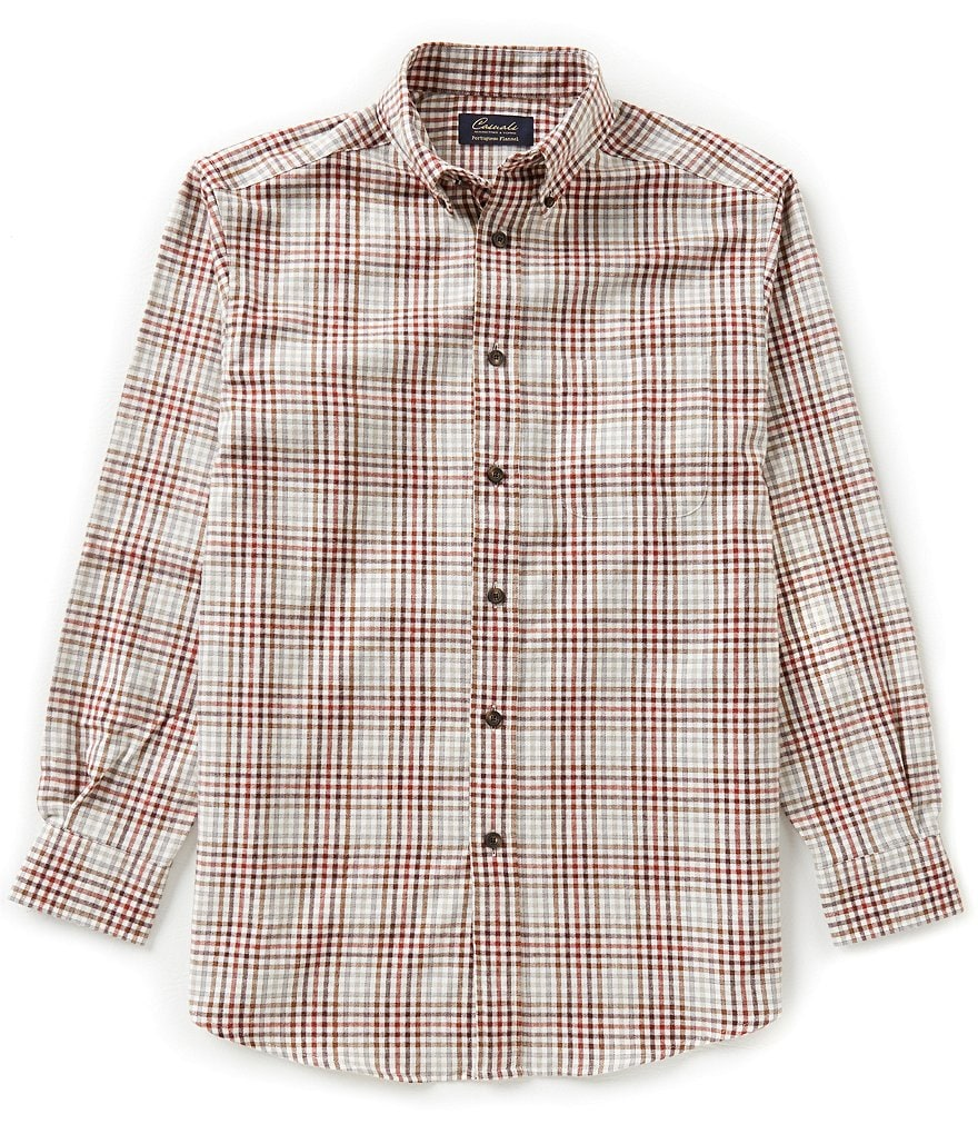 Roundtree & Yorke Casuals Big & Tall Long-Sleeve Multi Check Flannel Sportshirt