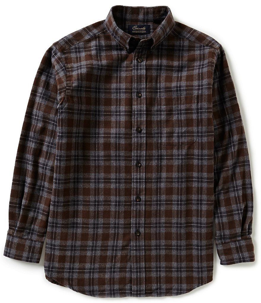 Roundtree & Yorke Casuals Big & Tall Long-Sleeve Large Plaid Flannel Sportshirt