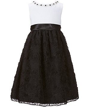 American Princess Little Girls 2T-6X Jeweled-Neckline Dress
