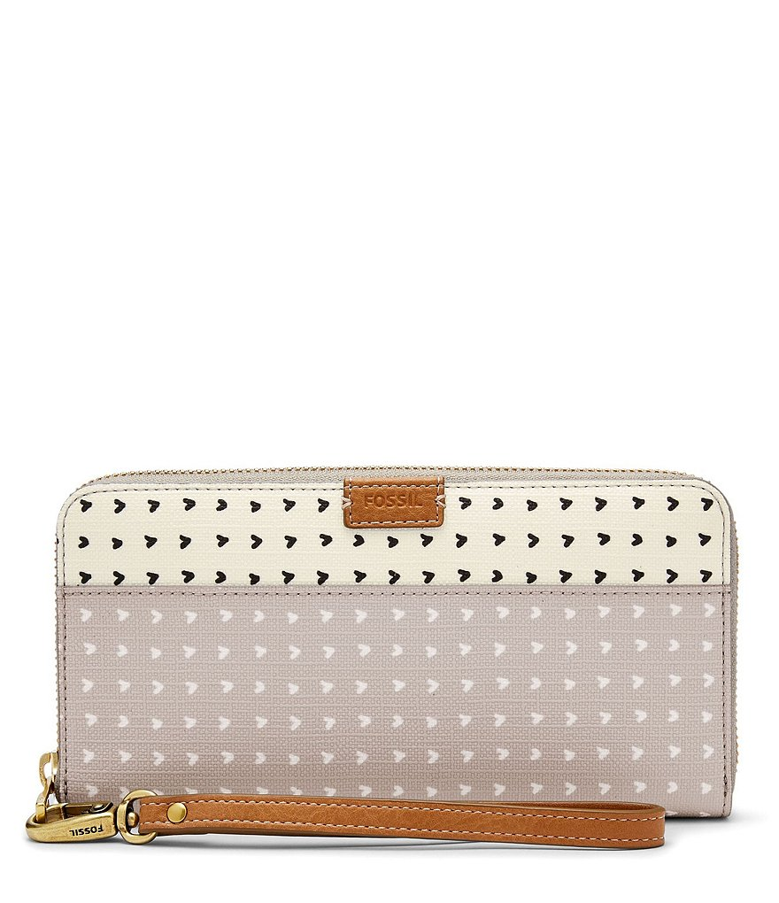 Fossil Emma Heart-Print RFID Large Zip Clutch Wallet