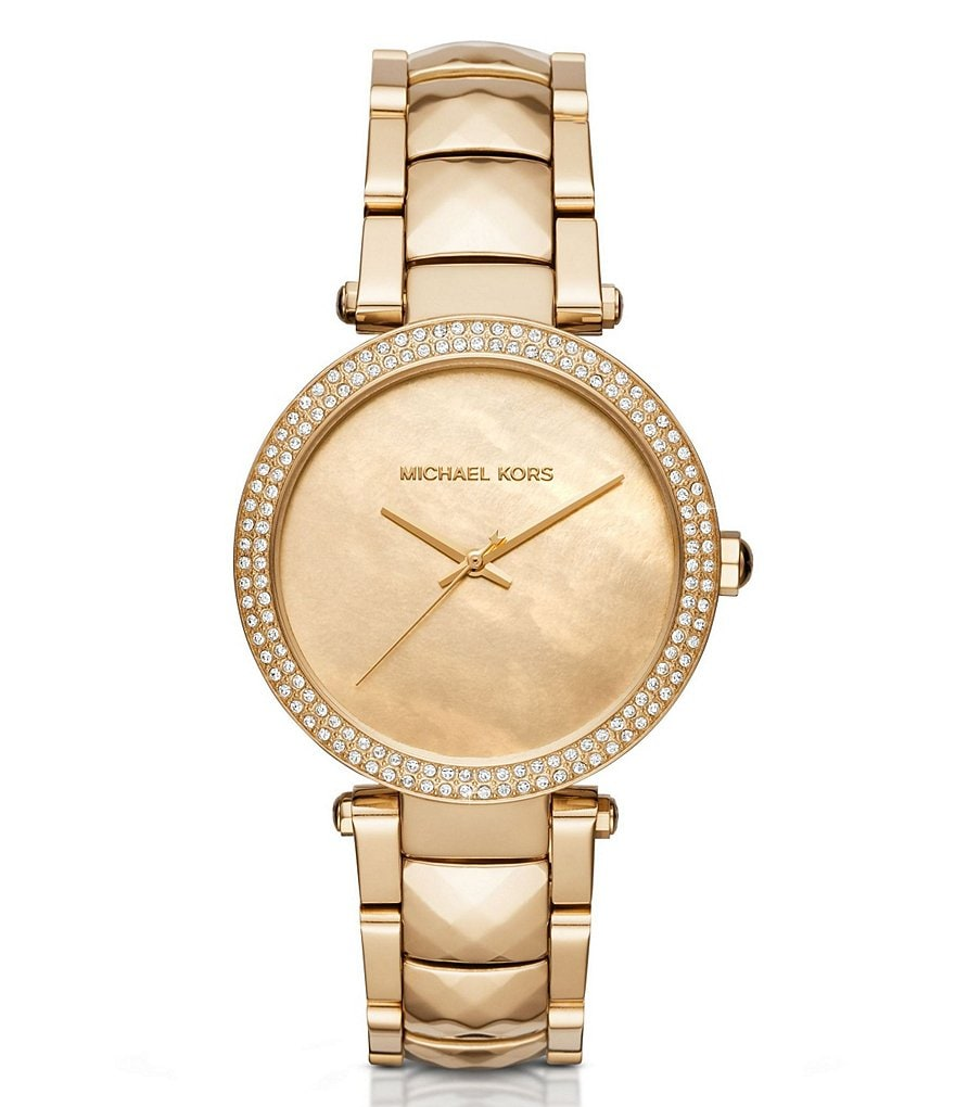 Michael Kors Parker Analog Pavé & Mother-of-Pearl Bracelet Watch