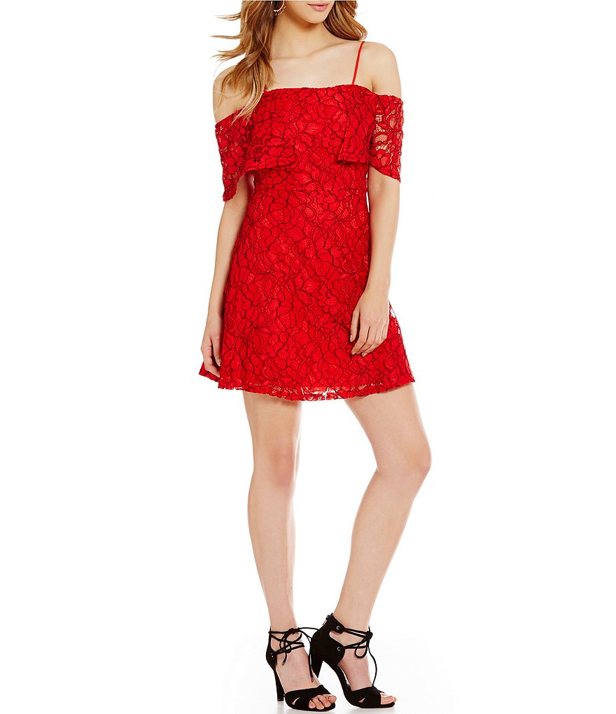 GB Off-The-Shoulder Lace Fit-and-Flare Dress