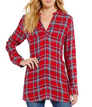 GB V-Neck Plaid Twill Tunic