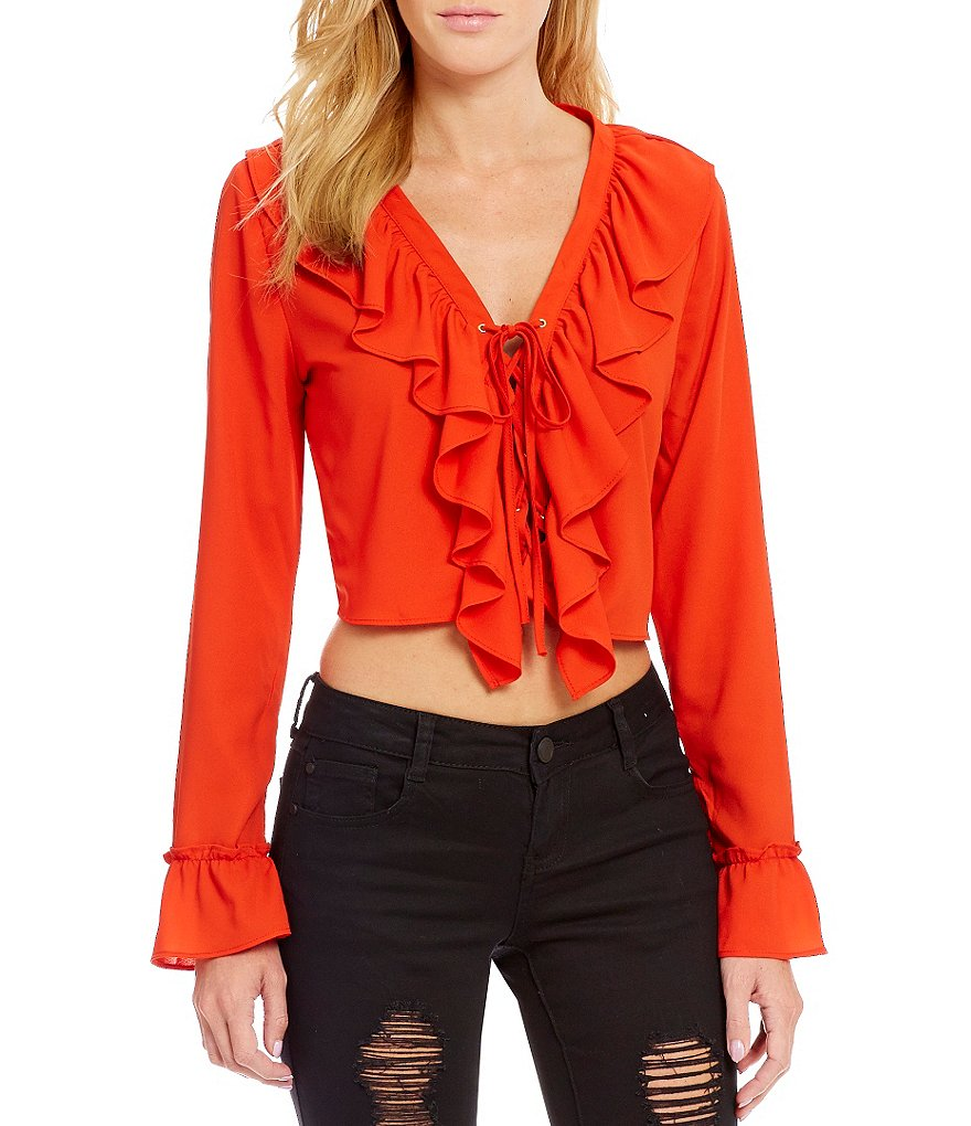 GB Lace Up Ruffled Cropped Blouse