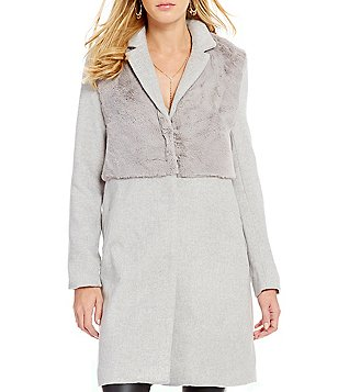 GB Mixed Media Heathered Twill Faux-Fur Coat