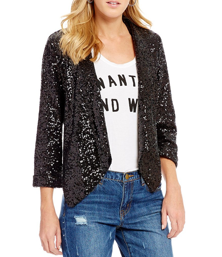 GB Sequin Open-Front Blazer