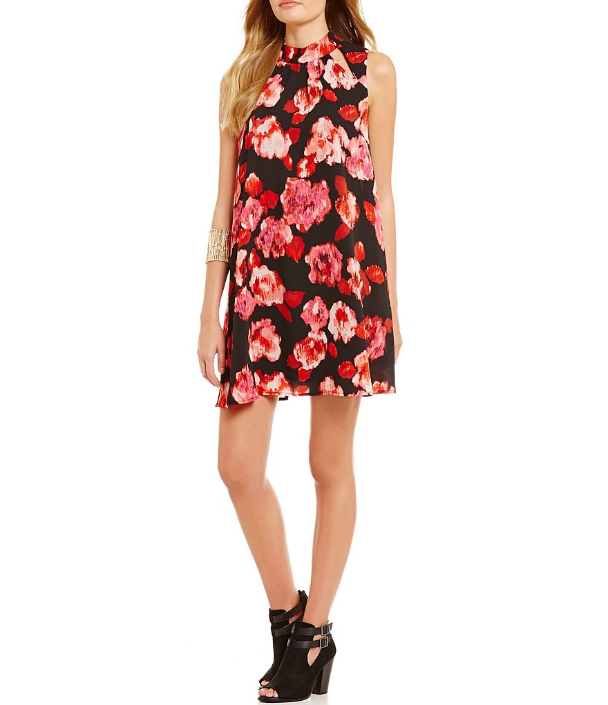 GB Floral Mockneck Shift Dress