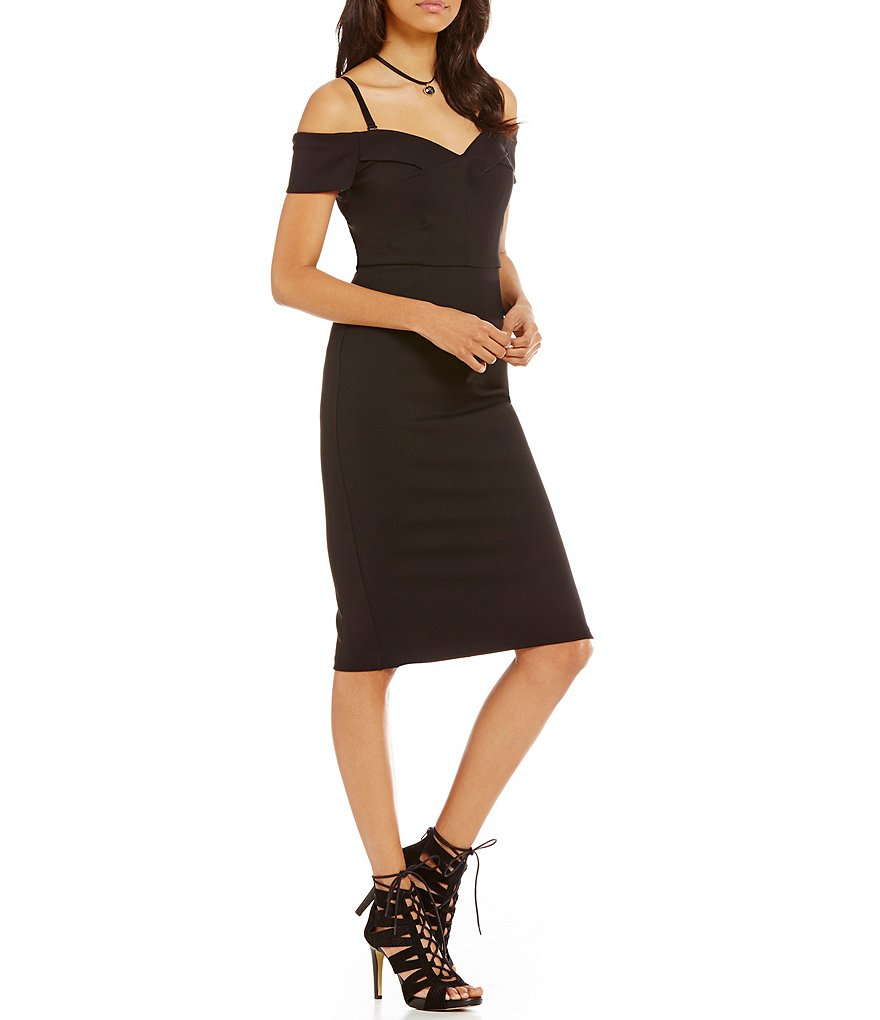 GB Off-The-Shoulder Midi Bodycon Dress