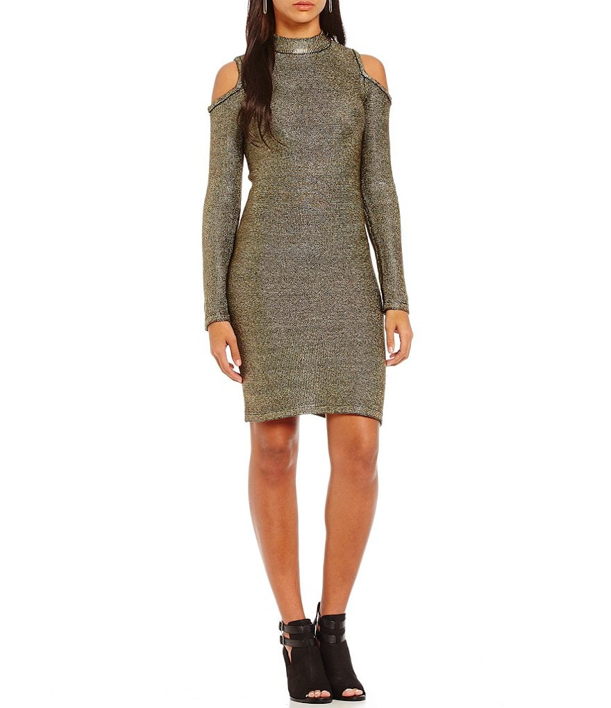 GB Cold Shoulder Mock Neck Metallic Sheath Dress