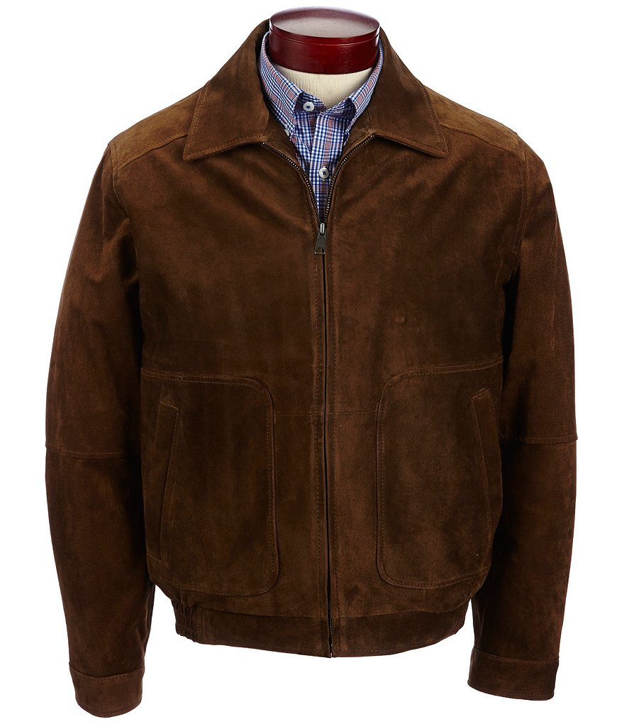 Roundtree & Yorke Big & Tall Suede Bomber Jacket