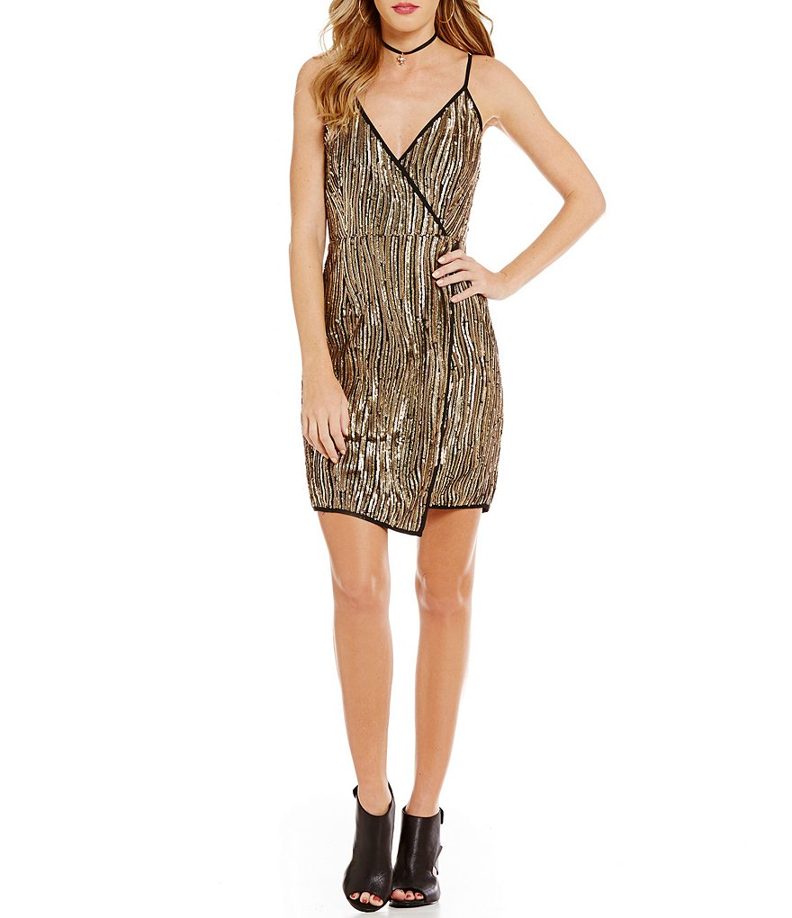 GB Sequin Wrap Open Back Sheath Dress