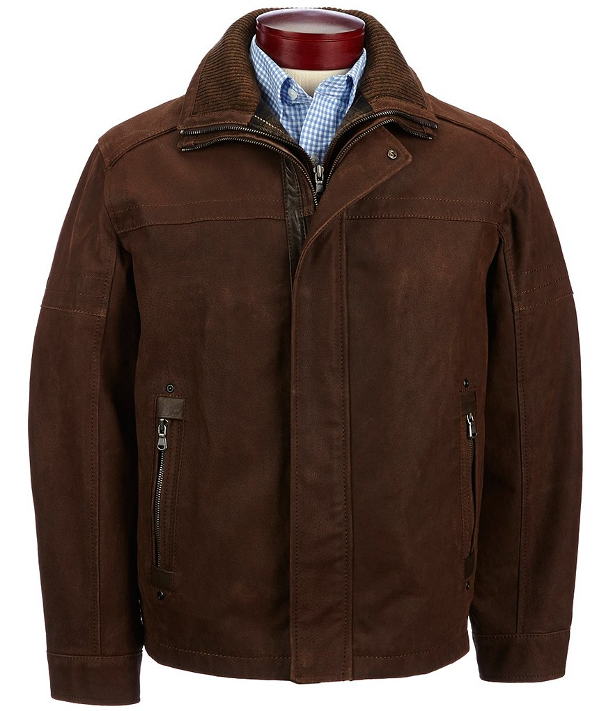 Roundtree & Yorke Big & Tall Suede Jacket with Bib