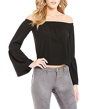 GB Fan Fav Off-The-Shoulder Bell-Sleeve Blouse