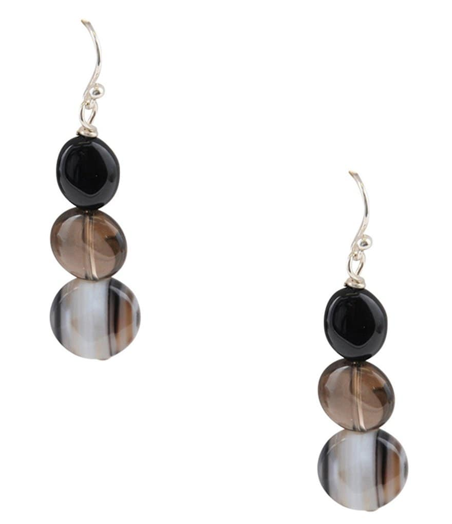 Calvary Onyx, Quartz & Agate Drop Earrings