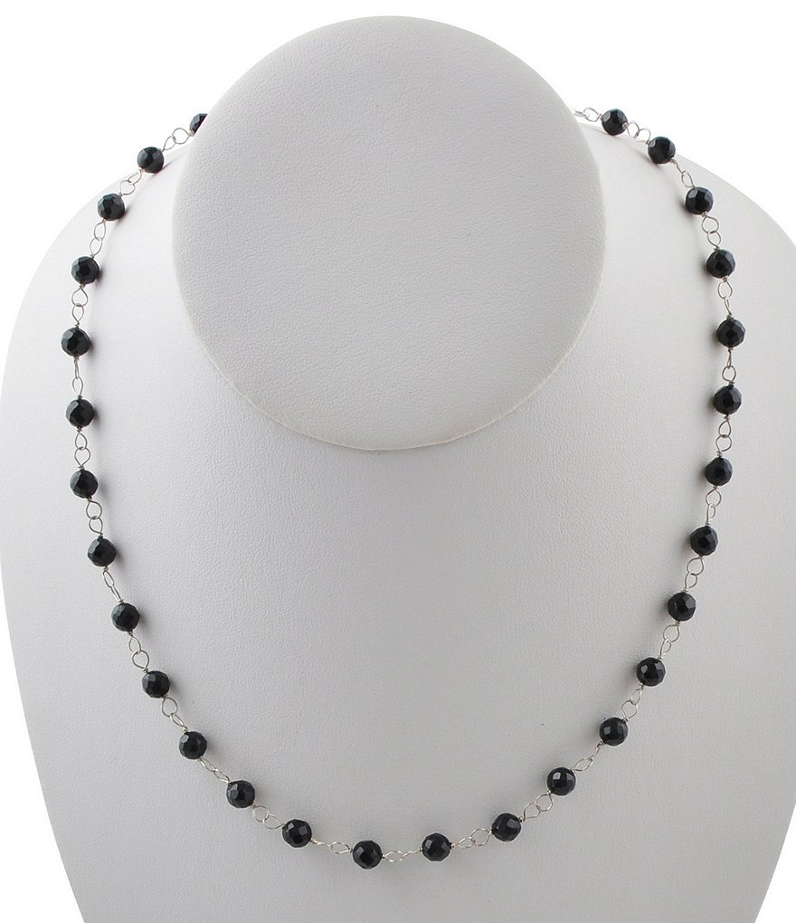 Calvary Sterling Silver & Onyx Rosary Bead Necklace